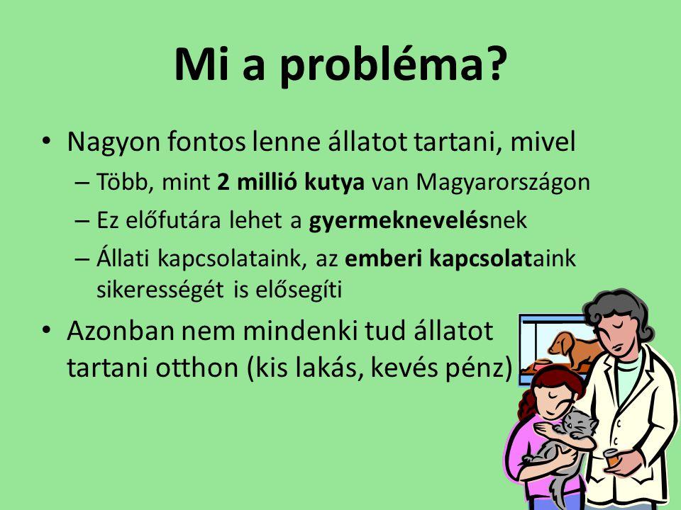 Mi a probléma? • Nagyon fontos lenne állatot tartani, mivel – Több, mint 2 millió kutya van Magyarországon – Ez előfutára lehet a gyermeknevelésnek –