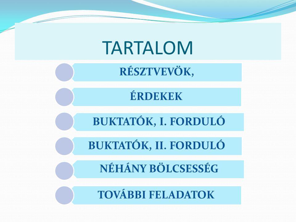 TARTALOM RÉSZTVEVÖK, ÉRDEKEK BUKTATÓK, I.FORDULÓ BUKTATÓK, II.