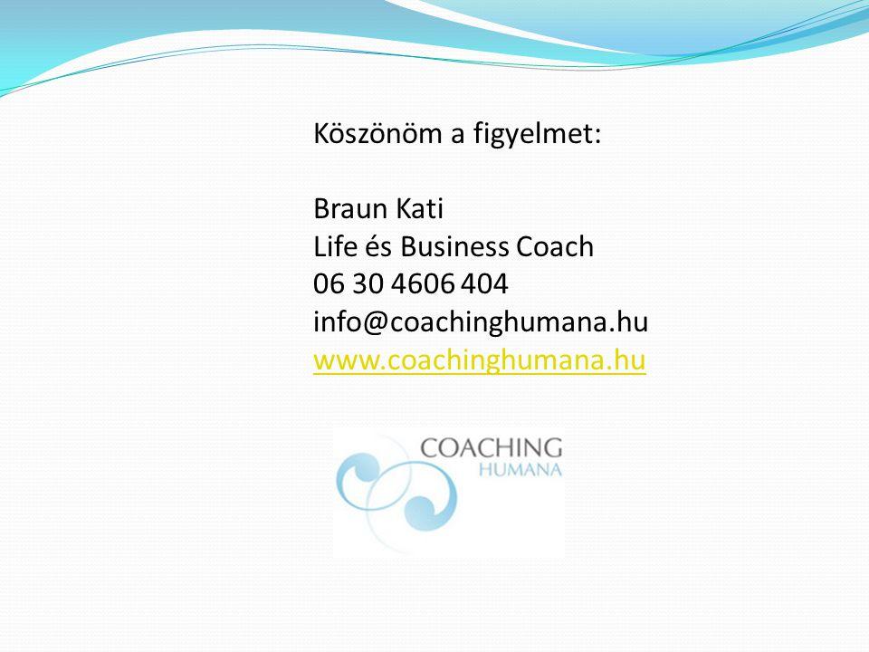 Köszönöm a figyelmet: Braun Kati Life és Business Coach 06 30 4606 404 info@coachinghumana.hu www.coachinghumana.hu