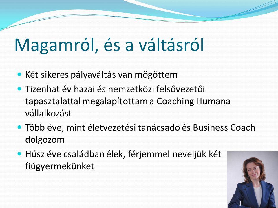 Magamról, és a váltásról  Két sikeres pályaváltás van mögöttem  Tizenhat év hazai és nemzetközi felsővezetői tapasztalattal megalapítottam a Coachin
