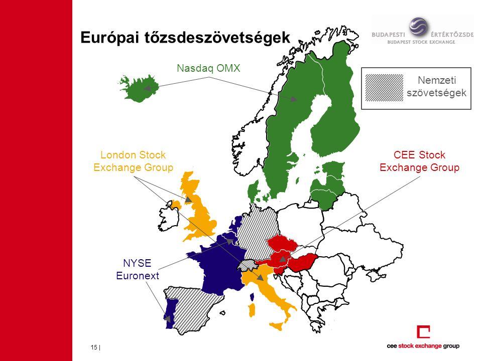 Európai tőzsdeszövetségek 15 | CEE Stock Exchange Group NYSE Euronext Nasdaq OMX London Stock Exchange Group Nemzeti szövetségek