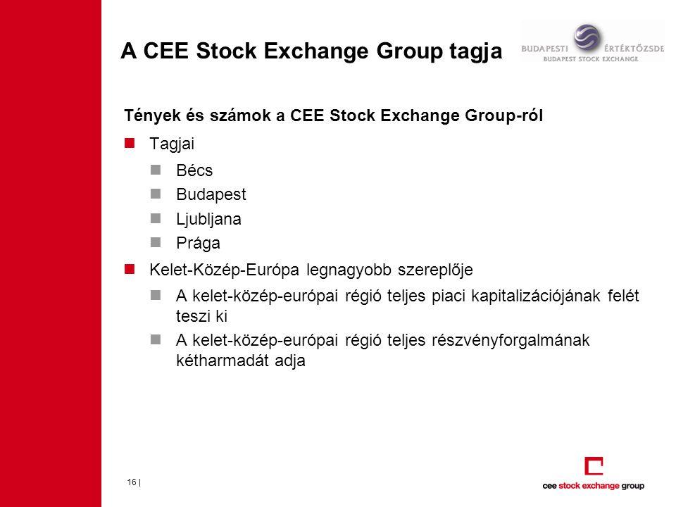 A CEE Stock Exchange Group tagja 16 | Tények és számok a CEE Stock Exchange Group-ról  Tagjai  Bécs  Budapest  Ljubljana  Prága  Kelet-Közép-Európa legnagyobb szereplője  A kelet-közép-európai régió teljes piaci kapitalizációjának felét teszi ki  A kelet-közép-európai régió teljes részvényforgalmának kétharmadát adja
