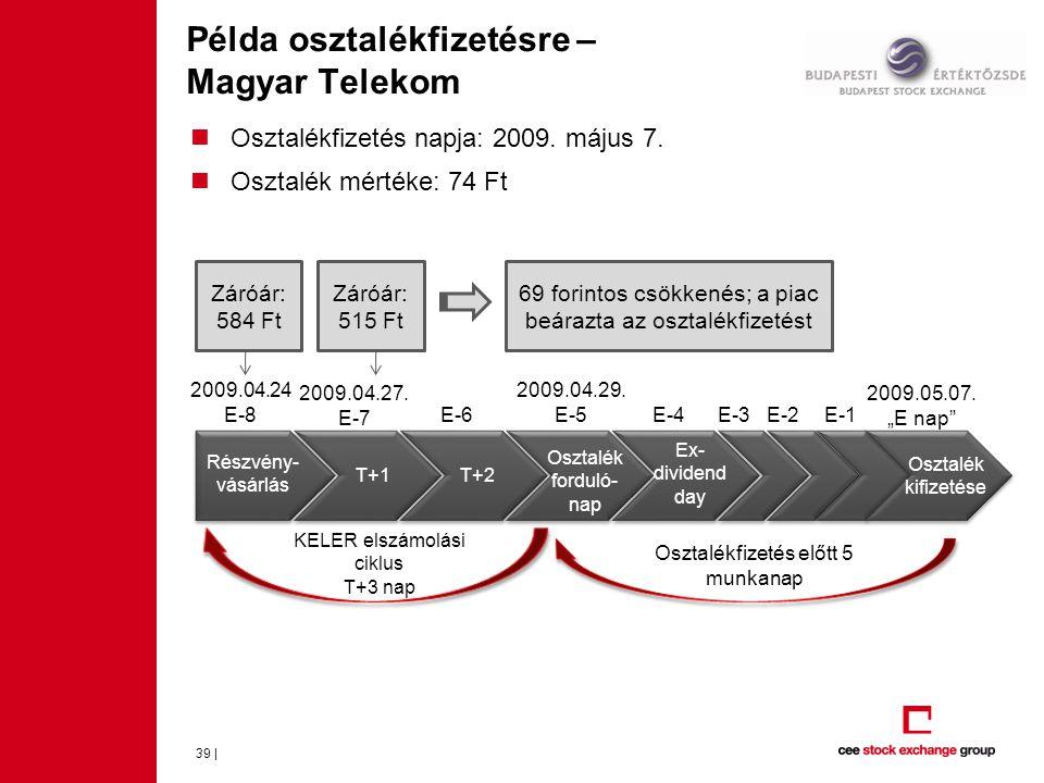 Példa osztalékfizetésre – Magyar Telekom 39 |  Osztalékfizetés napja: 2009.
