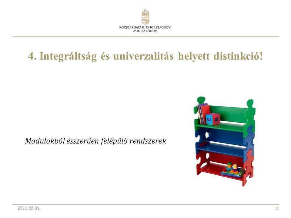 15 4. Integráltság és univerzalitás helyett distinkció! 2011.02.01. Modulokból ésszerűen felépülő rendszerek
