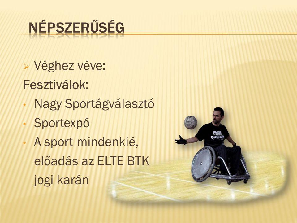  Véghez véve: Fesztiválok: • Nagy Sportágválasztó • Sportexpó • A sport mindenkié, előadás az ELTE BTK jogi karán