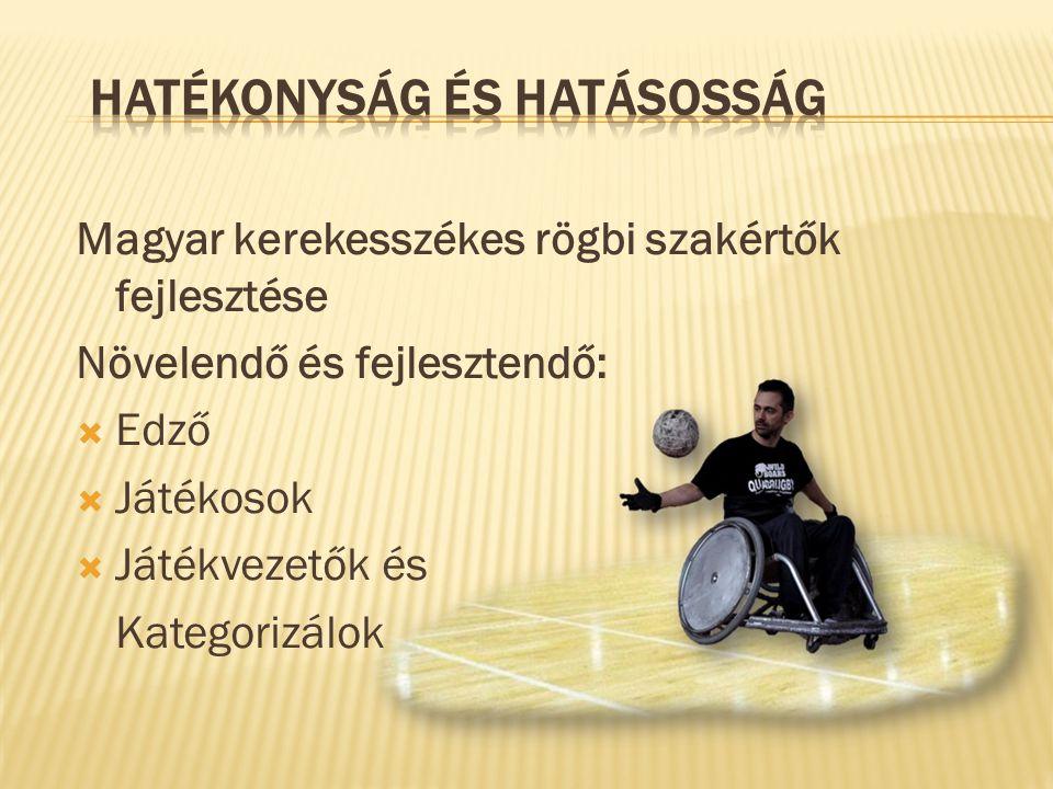 Magyar kerekesszékes rögbi szakértők fejlesztése Növelendő és fejlesztendő:  Edző  Játékosok  Játékvezetők és Kategorizálok