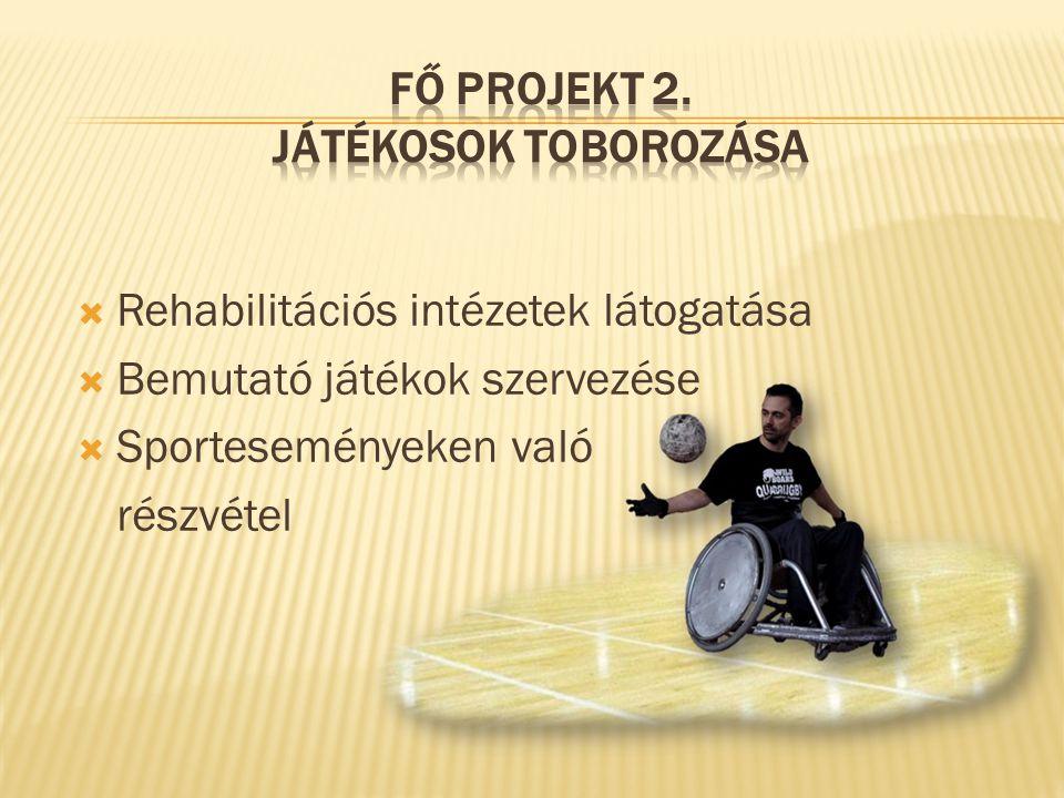  Rehabilitációs intézetek látogatása  Bemutató játékok szervezése  Sporteseményeken való részvétel