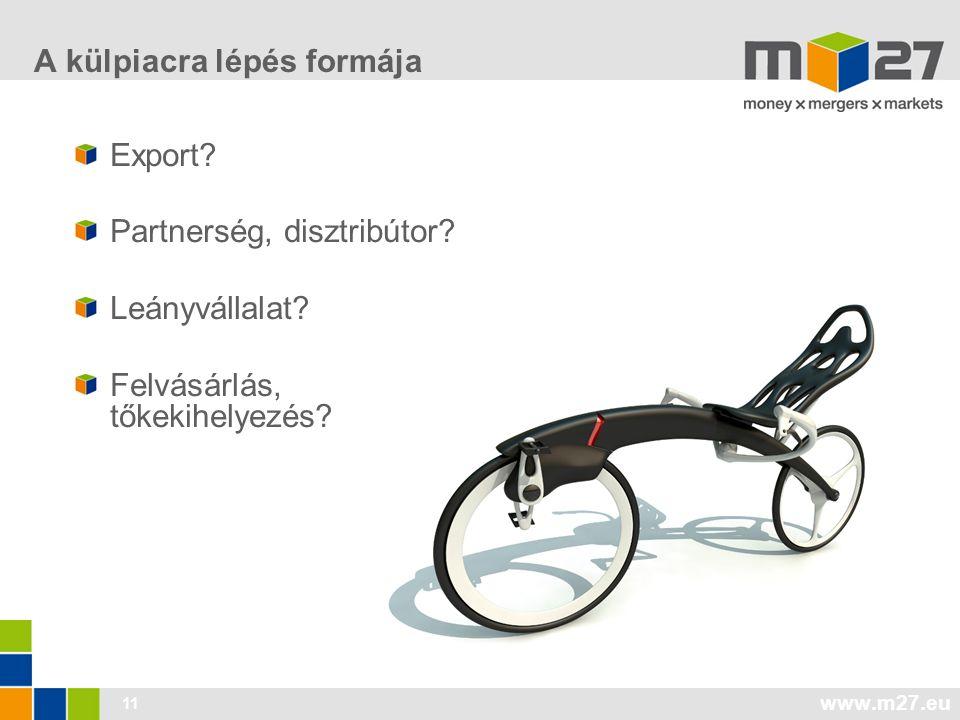 www.m27.eu 11 A külpiacra lépés formája Export. Partnerség, disztribútor.