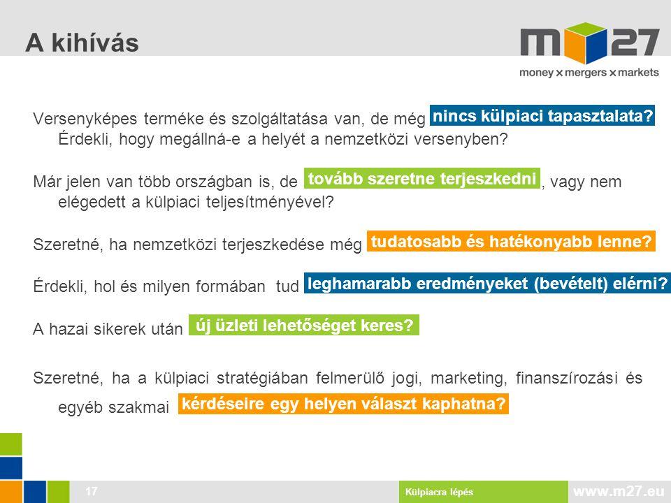 www.m27.eu 17 A kihívás Versenyképes terméke és szolgáltatása van, de még Érdekli, hogy megállná-e a helyét a nemzetközi versenyben.