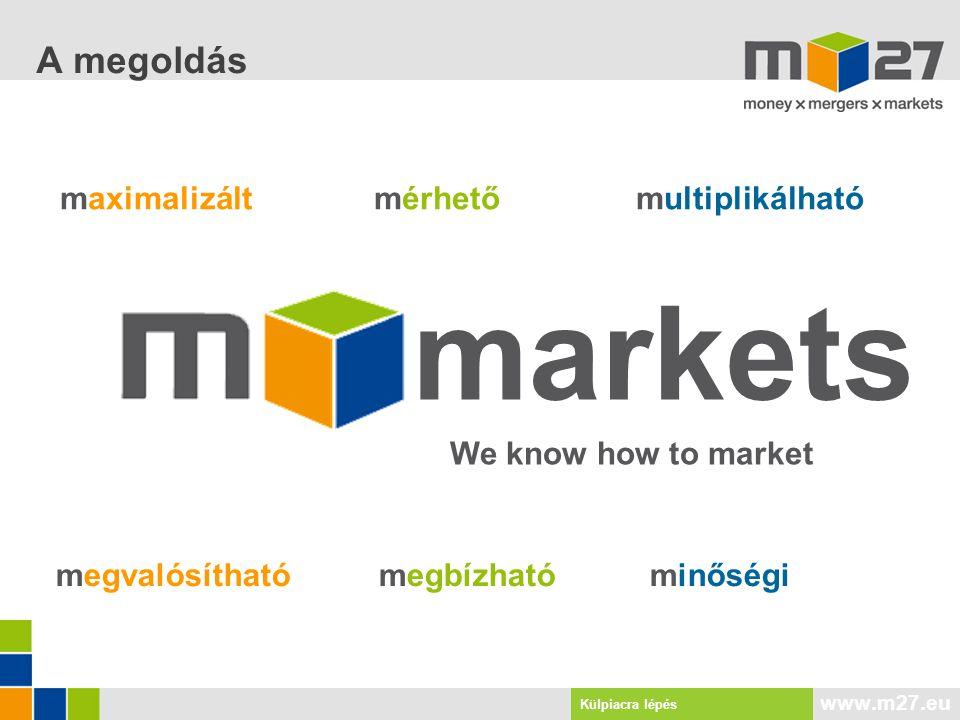www.m27.eu maximalizált mérhetőmultiplikálható megvalósítható megbízható minőségi markets We know how to market A megoldás Külpiacra lépés