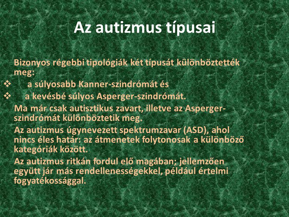 Az autizmus típusai Bizonyos régebbi tipológiák két típusát különböztették meg:  a súlyosabb Kanner-szindrómát és kevésbé súlyos Asperger-szindrómát.