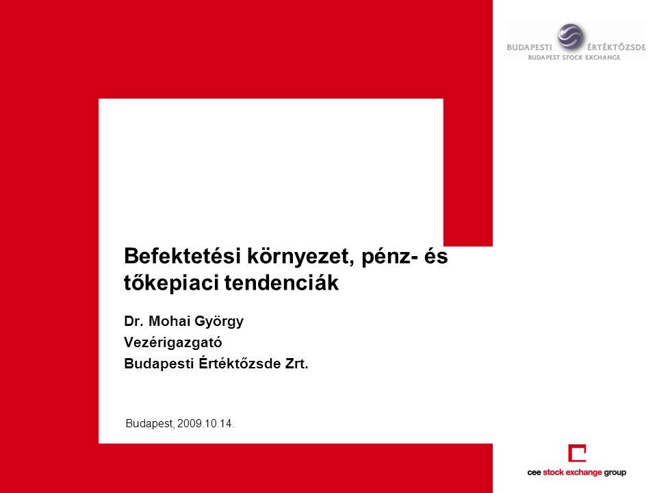 Befektetési környezet, pénz- és tőkepiaci tendenciák Dr. Mohai György Vezérigazgató Budapesti Értéktőzsde Zrt. Budapest, 2009.10.14.