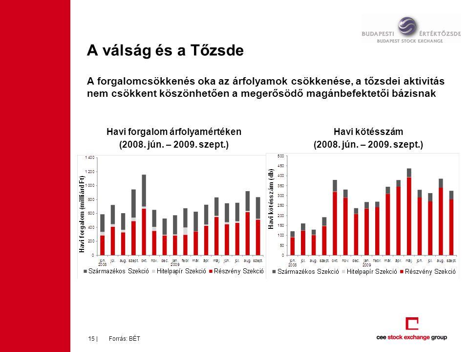 15 | A válság és a Tőzsde A forgalomcsökkenés oka az árfolyamok csökkenése, a tőzsdei aktivitás nem csökkent köszönhetően a megerősödő magánbefektetői