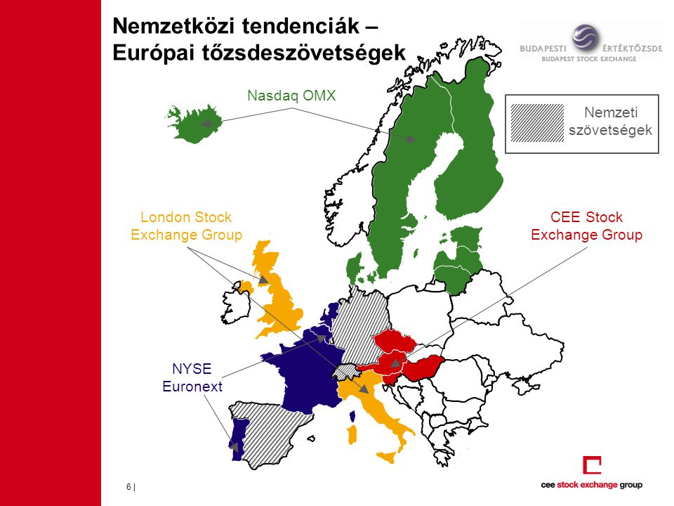 Nemzetközi tendenciák – Európai tőzsdeszövetségek 6 | CEE Stock Exchange Group NYSE Euronext Nasdaq OMX London Stock Exchange Group Nemzeti szövetsége
