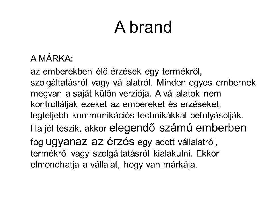 A brand A MÁRKA: az emberekben élő érzések egy termékről, szolgáltatásról vagy vállalatról.