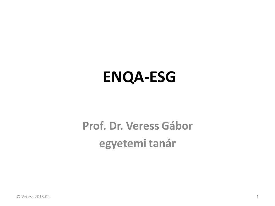 ENQA-ESG Prof. Dr. Veress Gábor egyetemi tanár © Veress 2013.02.1