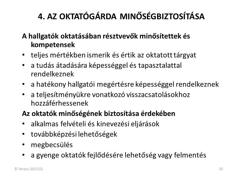 © Veress 2013.02.10 4. AZ OKTATÓGÁRDA MINŐSÉGBIZTOSÍTÁSA A hallgatók oktatásában résztvevők minősítettek és kompetensek • teljes mértékben ismerik és