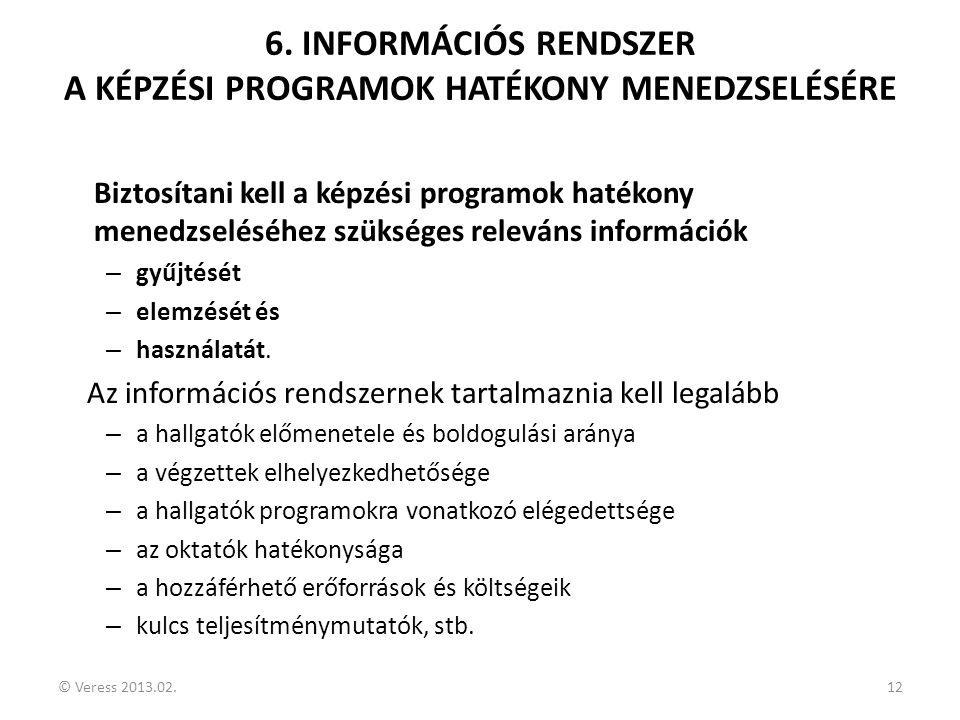 © Veress 2013.02.12 6. INFORMÁCIÓS RENDSZER A KÉPZÉSI PROGRAMOK HATÉKONY MENEDZSELÉSÉRE Biztosítani kell a képzési programok hatékony menedzseléséhez