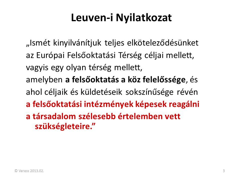 """© Veress 2013.02.3 Leuven-i Nyilatkozat """"Ismét kinyilvánítjuk teljes elköteleződésünket az Európai Felsőoktatási Térség céljai mellett, vagyis egy oly"""