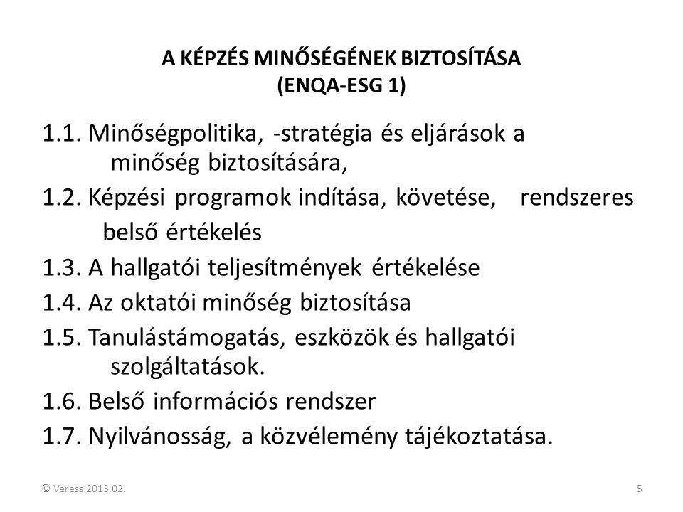 © Veress 2013.02.5 A KÉPZÉS MINŐSÉGÉNEK BIZTOSÍTÁSA (ENQA-ESG 1) 1.1. Minőségpolitika, -stratégia és eljárások a minőség biztosítására, 1.2. Képzési p