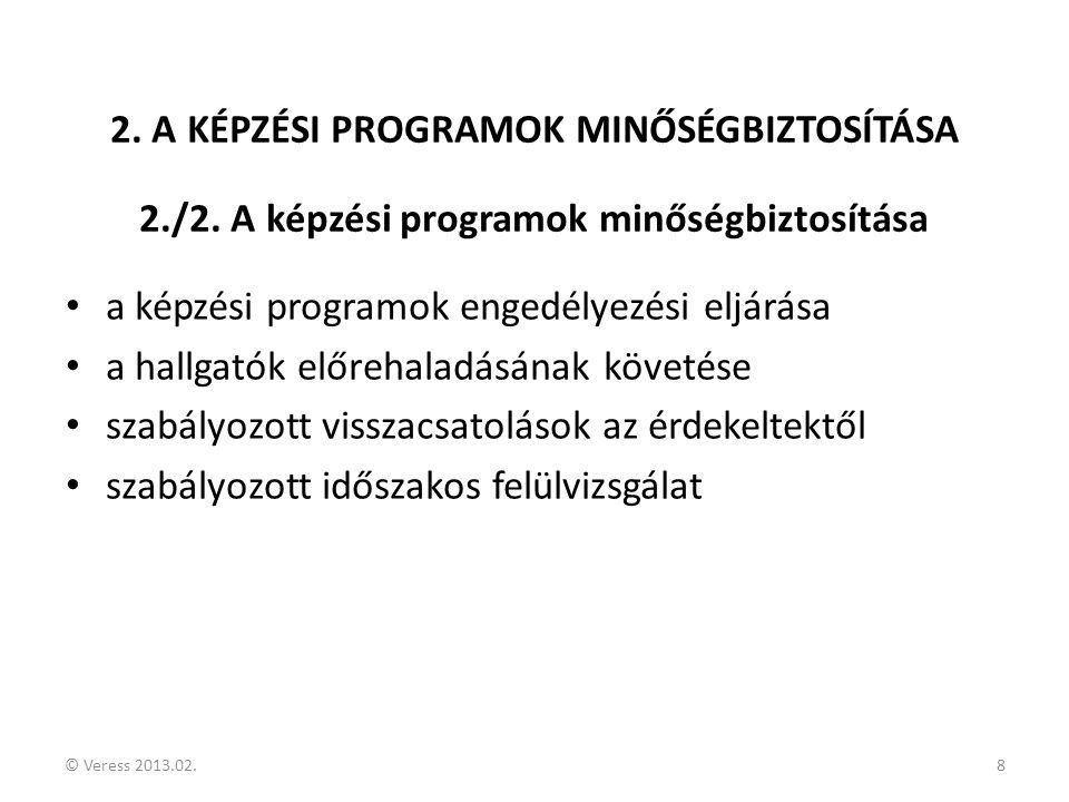 © Veress 2013.02.8 2. A KÉPZÉSI PROGRAMOK MINŐSÉGBIZTOSÍTÁSA 2./2. A képzési programok minőségbiztosítása • a képzési programok engedélyezési eljárása