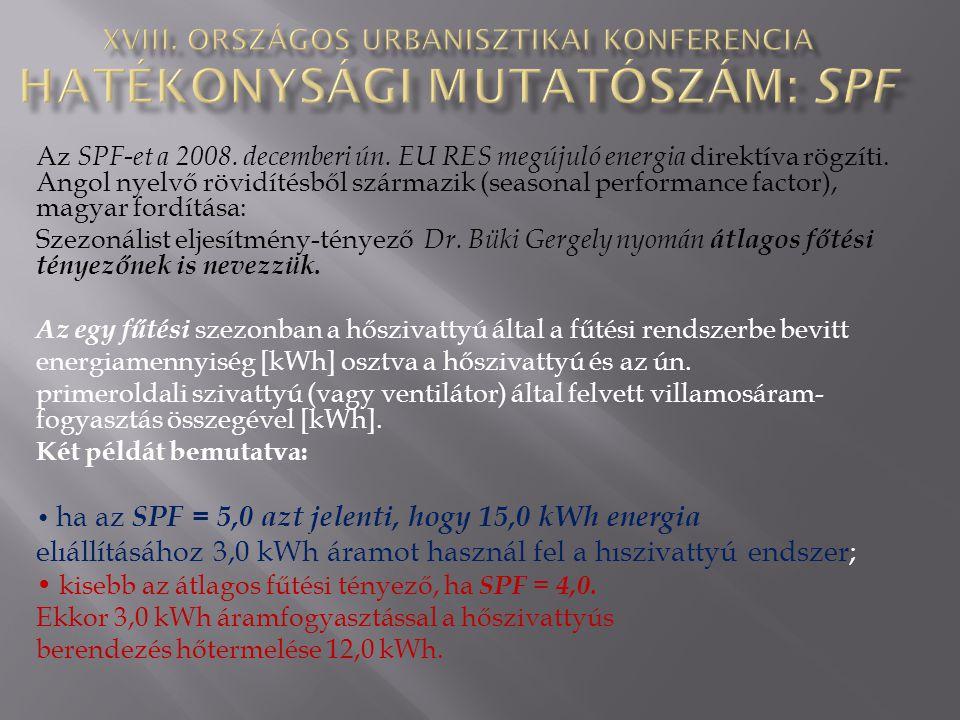 Az SPF-et a 2008. decemberi ún. EU RES megújuló energia direktíva rögzíti. Angol nyelvő rövidítésből származik (seasonal performance factor), magyar f