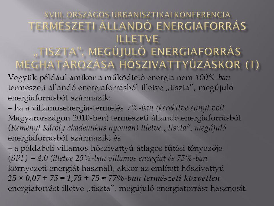 """Vegyük például amikor a működtető energia nem 100%-ban természeti állandó energiaforrásból illetve """"tiszta , megújuló energiaforrásból származik: – ha a villamosenergia-termelés 7%-ban (kerekítve ennyi volt Magyarországon 2010-ben) természeti állandó energiaforrásból ( Reményi Károly akadémikus nyomán) illetve """"tiszta , megújuló energiaforrásból származik, és – a példabeli villamos hőszivattyú átlagos fűtési tényezője ( SPF) = 4,0 (illetve 25%-ban villamos energiát és 75%-ban környezeti energiát használ), akkor az említett hőszivattyú 25 × 0,07 + 75 = 1,75 + 75 ≈ 77%-ban természeti közvetlen energiaforrást illetve """"tiszta , megújuló energiaforrást hasznosít."""