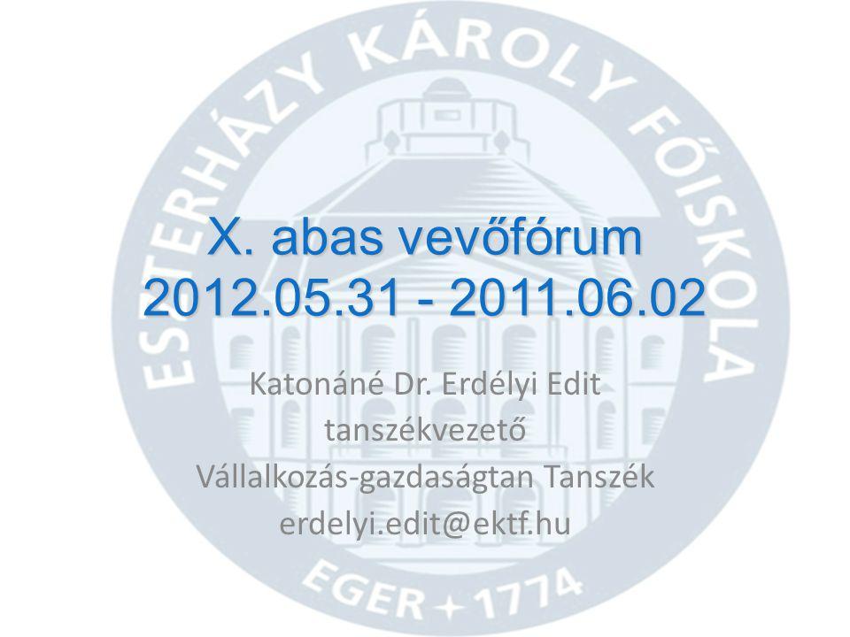 X.abas vevőfórum 2012.05.31 - 2011.06.02 Katonáné Dr.