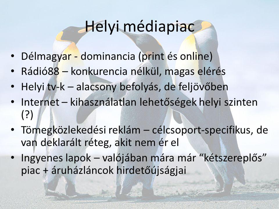 Helyi médiapiac • Délmagyar - dominancia (print és online) • Rádió88 – konkurencia nélkül, magas elérés • Helyi tv-k – alacsony befolyás, de feljövőbe