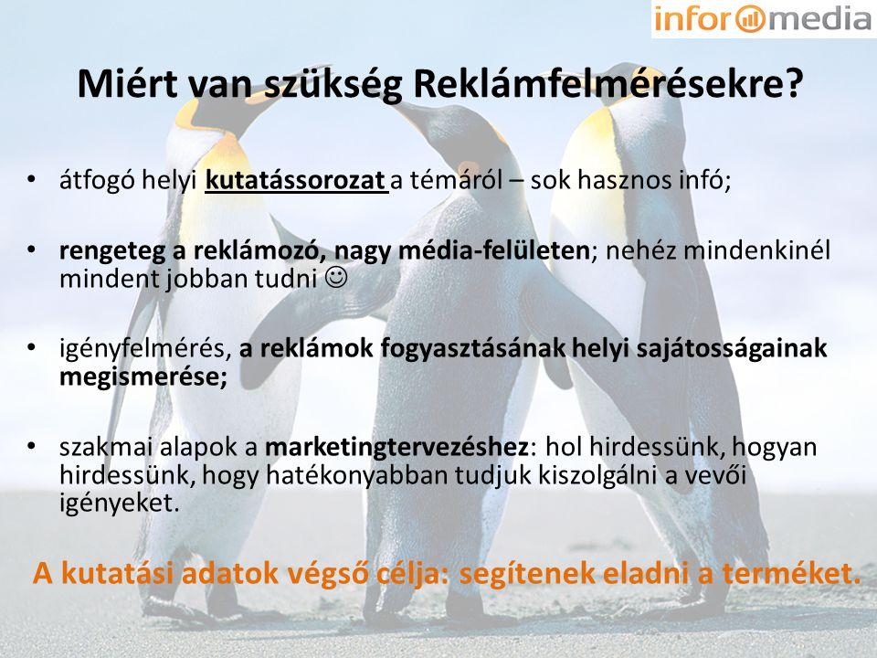 Miért van szükség Reklámfelmérésekre? • átfogó helyi kutatássorozat a témáról – sok hasznos infó; • rengeteg a reklámozó, nagy média-felületen; nehéz
