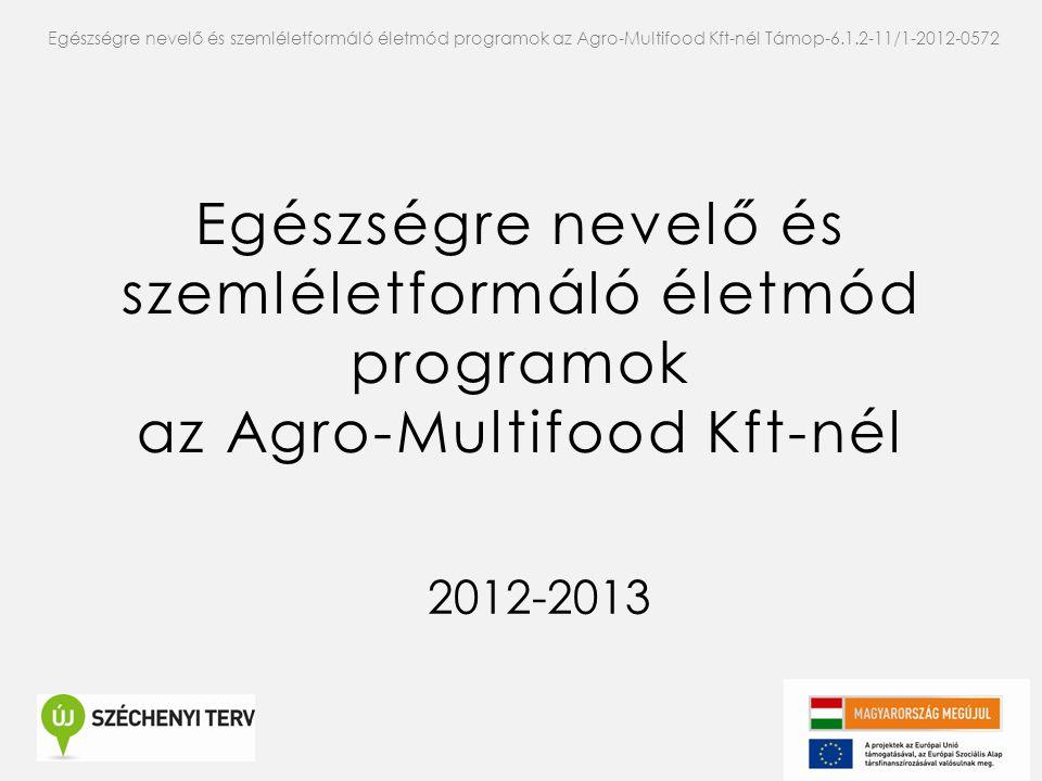 Egészségre nevelő és szemléletformáló életmód programok az Agro-Multifood Kft-nél 2012-2013 Egészségre nevelő és szemléletformáló életmód programok az