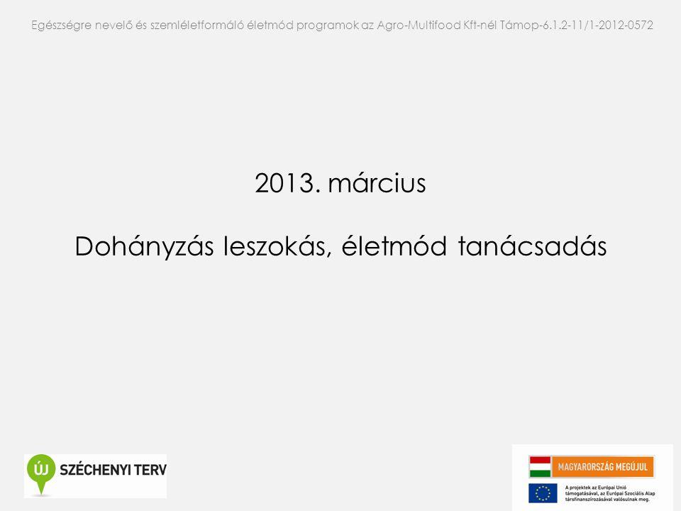 2013. március Dohányzás leszokás, életmód tanácsadás Egészségre nevelő és szemléletformáló életmód programok az Agro-Multifood Kft-nél Támop-6.1.2-11/