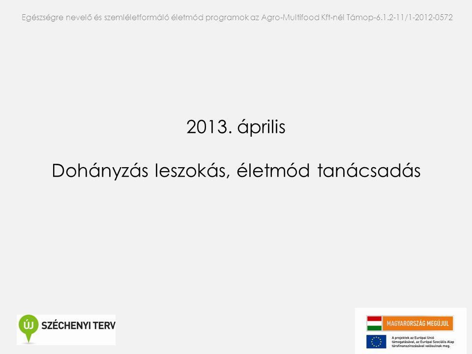 2013. április Dohányzás leszokás, életmód tanácsadás Egészségre nevelő és szemléletformáló életmód programok az Agro-Multifood Kft-nél Támop-6.1.2-11/