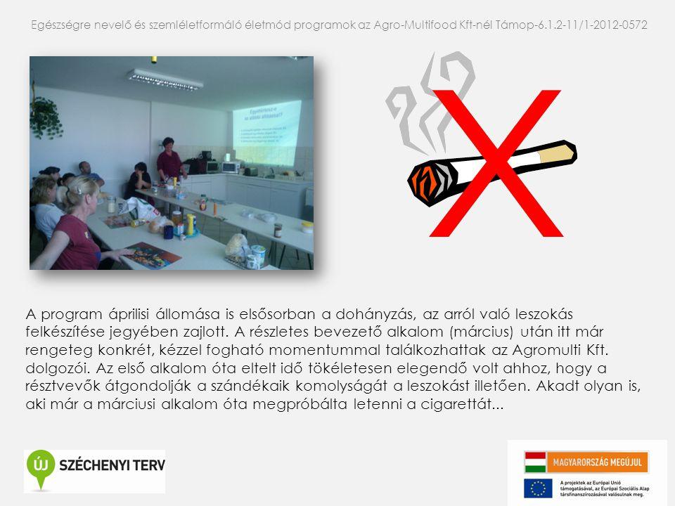 A program áprilisi állomása is elsősorban a dohányzás, az arról való leszokás felkészítése jegyében zajlott. A részletes bevezető alkalom (március) ut