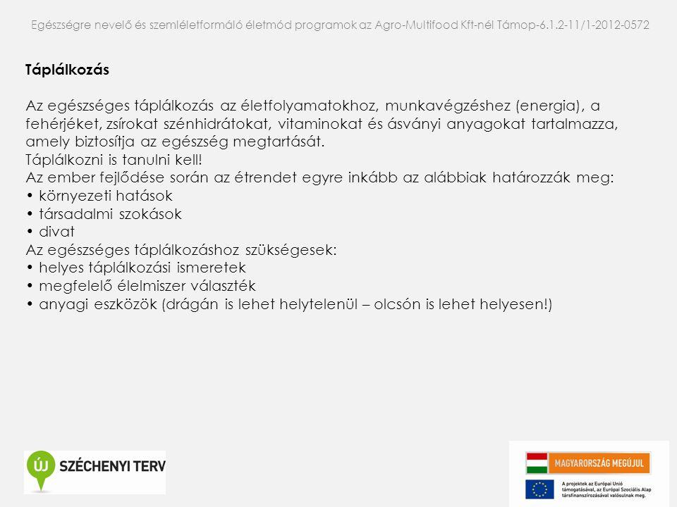 Egészségre nevelő és szemléletformáló életmód programok az Agro-Multifood Kft-nél Támop-6.1.2-11/1-2012-0572 Táplálkozás Az egészséges táplálkozás az