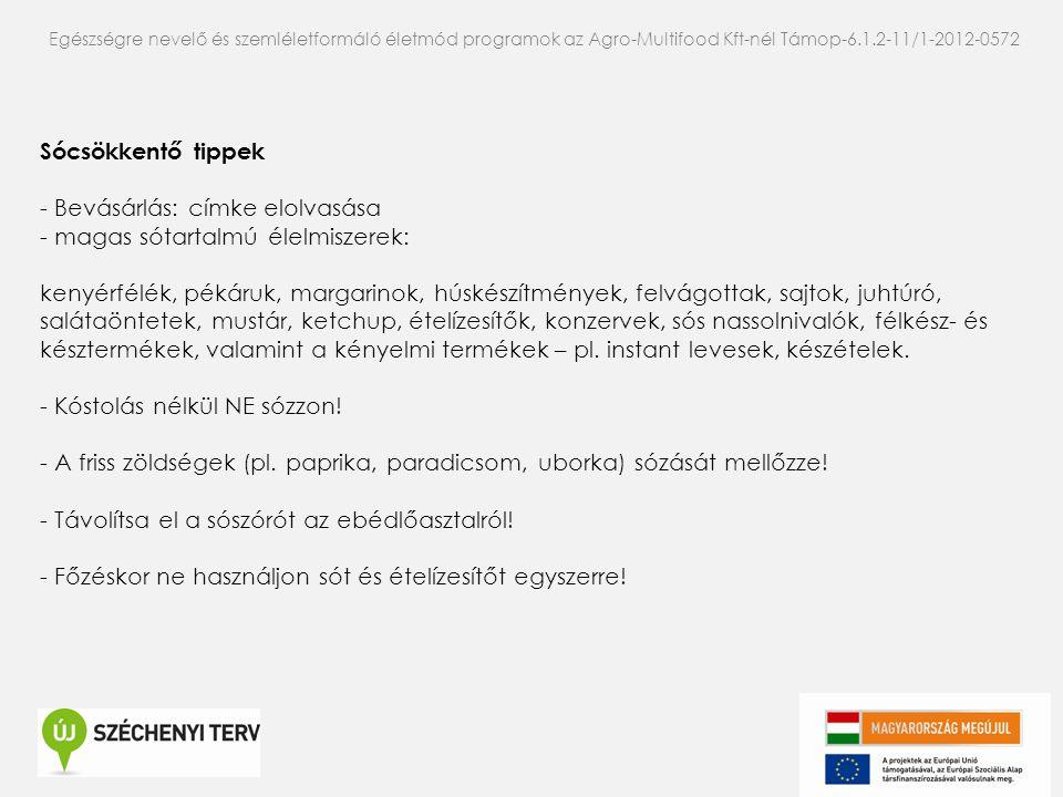 Egészségre nevelő és szemléletformáló életmód programok az Agro-Multifood Kft-nél Támop-6.1.2-11/1-2012-0572 Sócsökkentő tippek - Bevásárlás: címke el