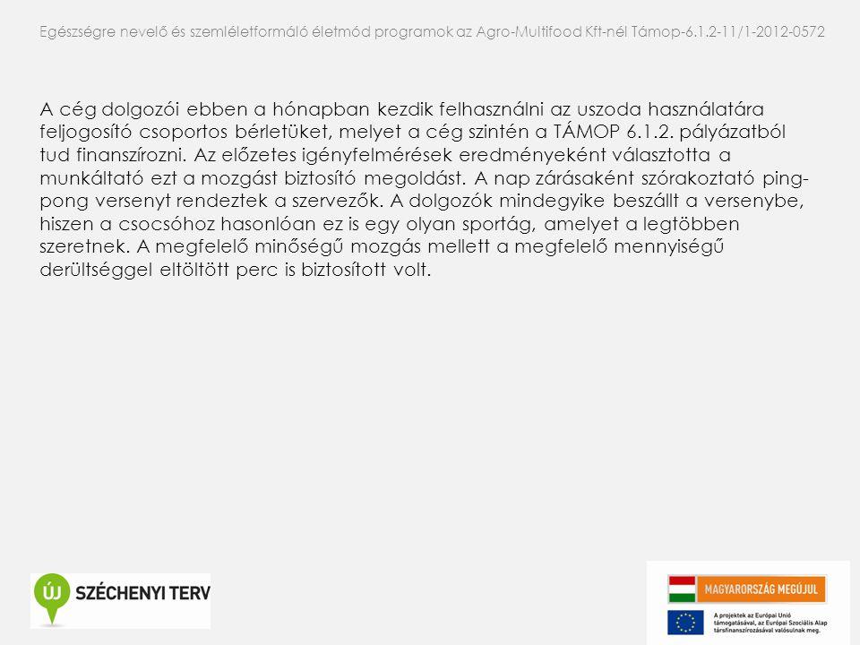 Egészségre nevelő és szemléletformáló életmód programok az Agro-Multifood Kft-nél Támop-6.1.2-11/1-2012-0572 A cég dolgozói ebben a hónapban kezdik fe