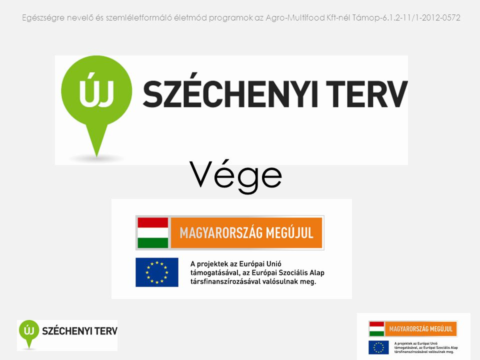 Egészségre nevelő és szemléletformáló életmód programok az Agro-Multifood Kft-nél Támop-6.1.2-11/1-2012-0572 Vége