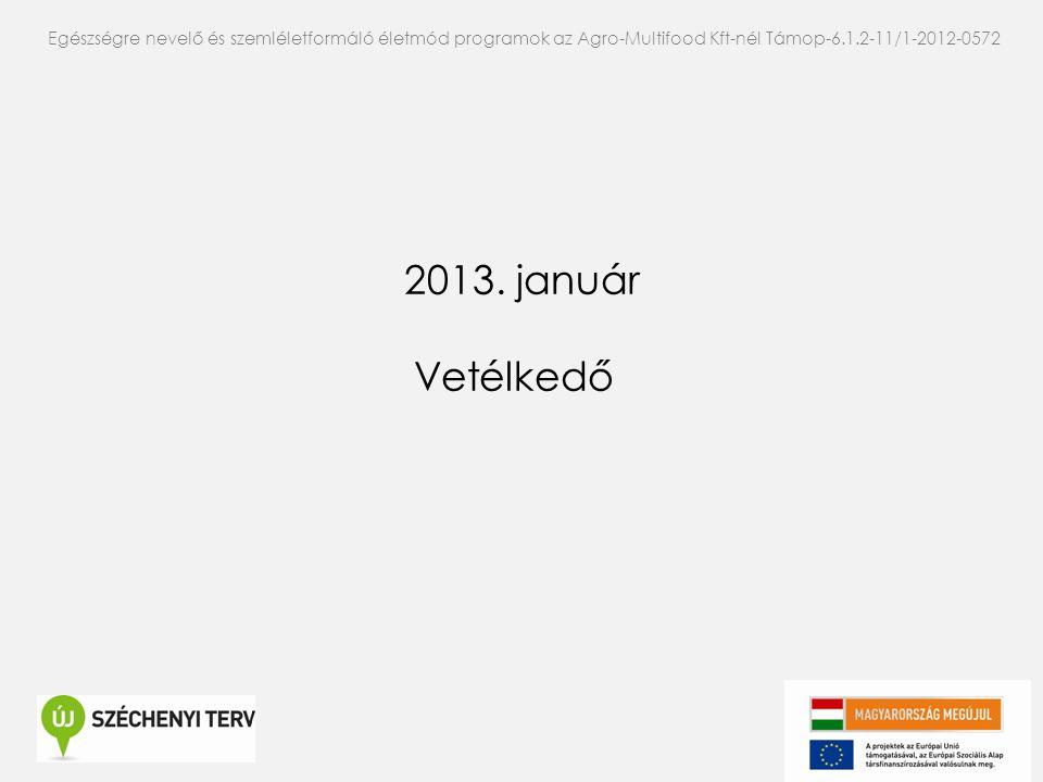 2013. január Vetélkedő Egészségre nevelő és szemléletformáló életmód programok az Agro-Multifood Kft-nél Támop-6.1.2-11/1-2012-0572