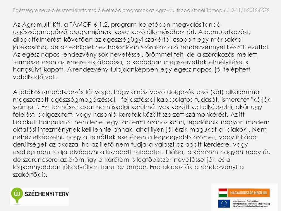 Az Agromulti Kft. a TÁMOP 6.1.2. program keretében megvalósítandó egészségmegőrző programjának következő állomásához ért. A bemutatkozást, állapotfelm