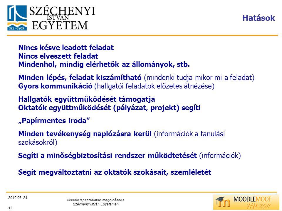 TÁMOP412/C Hatások 2010.06..24 Moodle tapasztalatok, megoldások a Széchenyi István Egyetemen 13 Nincs késve leadott feladat Nincs elveszett feladat Mindenhol, mindig elérhetők az állományok, stb.