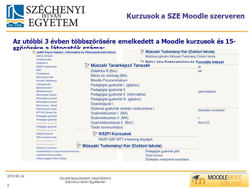 TÁMOP412/C Kurzusok a SZE Moodle szerveren 2010.06..24 Moodle tapasztalatok, megoldások a Széchenyi István Egyetemen 5 Az utóbbi 3 évben többszörösére emelkedett a Moodle kurzusok és 15- szörösére a látogatók száma: