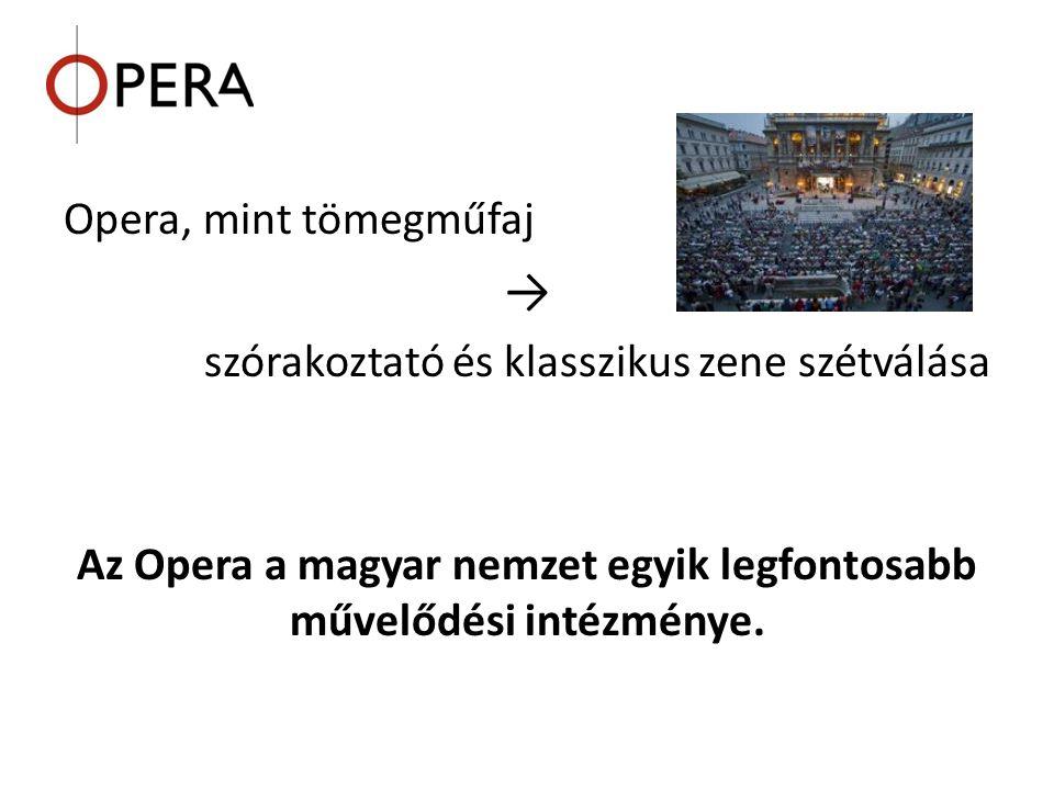 Opera, mint tömegműfaj → szórakoztató és klasszikus zene szétválása Az Opera a magyar nemzet egyik legfontosabb művelődési intézménye.