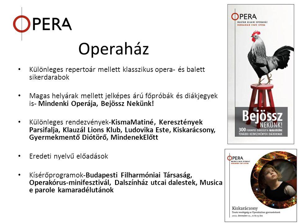 Operaház • Különleges repertoár mellett klasszikus opera- és balett sikerdarabok • Magas helyárak mellett jelképes árú főpróbák és diákjegyek is- Mind