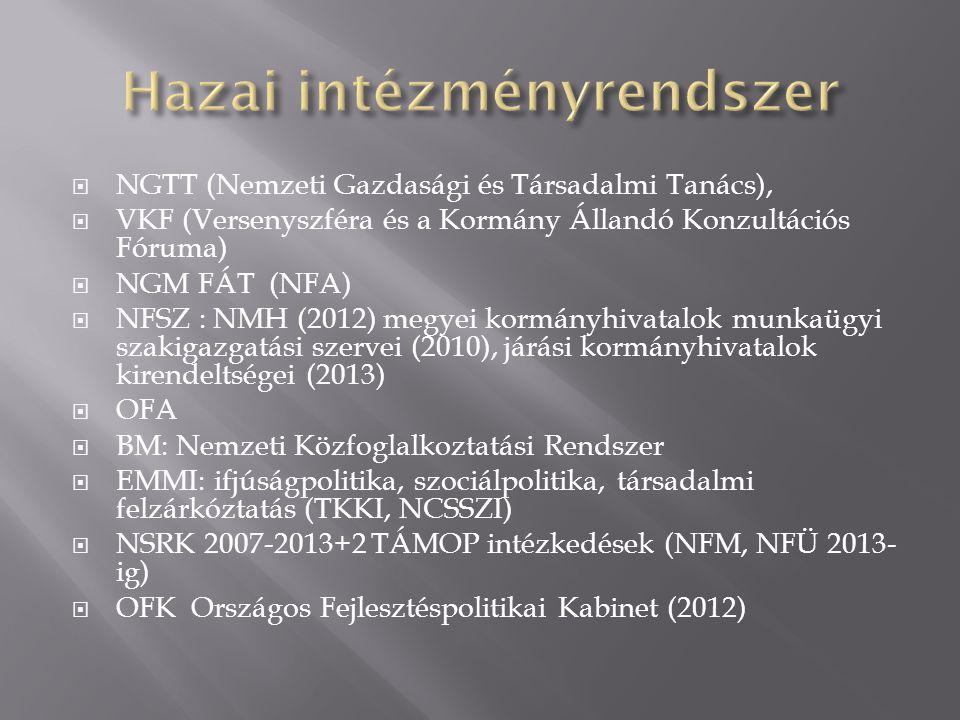  NGTT (Nemzeti Gazdasági és Társadalmi Tanács),  VKF (Versenyszféra és a Kormány Állandó Konzultációs Fóruma)  NGM FÁT (NFA)  NFSZ : NMH (2012) megyei kormányhivatalok munkaügyi szakigazgatási szervei (2010), járási kormányhivatalok kirendeltségei (2013)  OFA  BM: Nemzeti Közfoglalkoztatási Rendszer  EMMI: ifjúságpolitika, szociálpolitika, társadalmi felzárkóztatás (TKKI, NCSSZI)  NSRK 2007-2013+2 TÁMOP intézkedések (NFM, NFÜ 2013- ig)  OFK Országos Fejlesztéspolitikai Kabinet (2012)