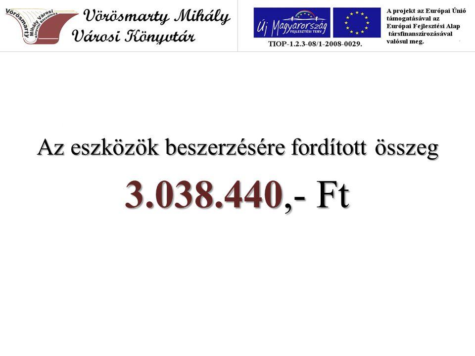Az eszközök beszerzésére fordított összeg 3.038.440,- Ft 3.038.440,- Ft