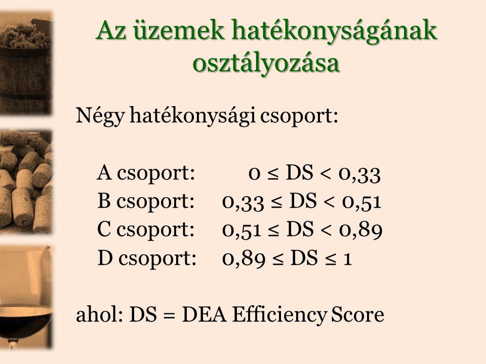 Az üzemek hatékonyságának osztályozása Négy hatékonysági csoport: A csoport: 0 ≤ DS < 0,33 B csoport:0,33 ≤ DS < 0,51 C csoport: 0,51 ≤ DS < 0,89 D csoport: 0,89 ≤ DS ≤ 1 ahol: DS = DEA Efficiency Score