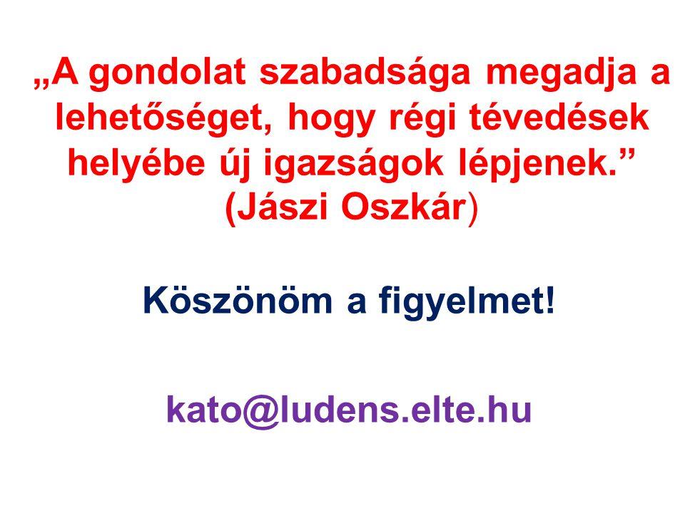 """""""A gondolat szabadsága megadja a lehetőséget, hogy régi tévedések helyébe új igazságok lépjenek."""" (Jászi Oszkár) Köszönöm a figyelmet! kato@ludens.elt"""