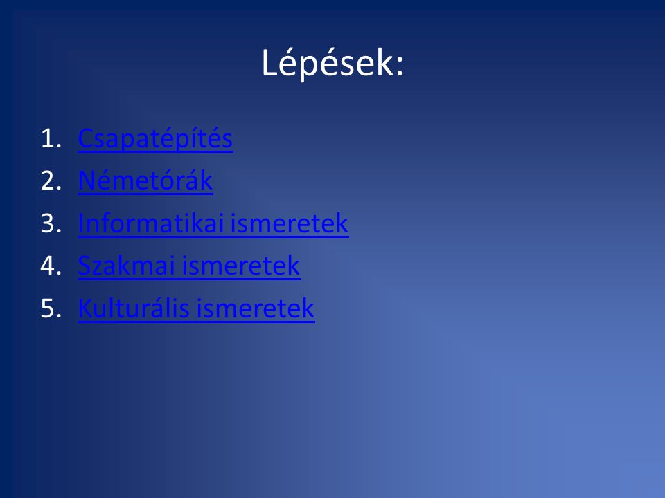 Lépések: 1.CsapatépítésCsapatépítés 2.NémetórákNémetórák 3.Informatikai ismeretekInformatikai ismeretek 4.Szakmai ismeretekSzakmai ismeretek 5.Kulturális ismeretekKulturális ismeretek
