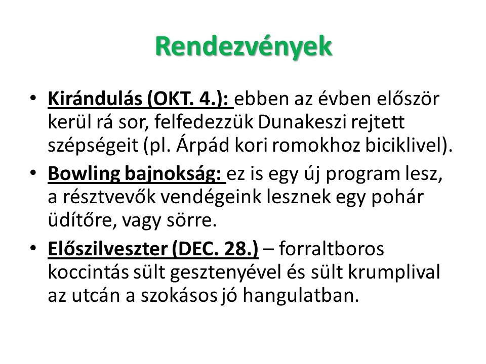 Rendezvények • Kirándulás (OKT. 4.): ebben az évben először kerül rá sor, felfedezzük Dunakeszi rejtett szépségeit (pl. Árpád kori romokhoz biciklivel